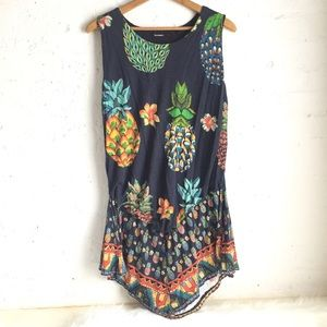 Desigual navy blue pineapple asymmetrical dress